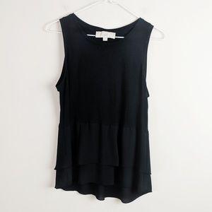 | Sale | LOFT • Black Sleeveless Ruffle Blouse